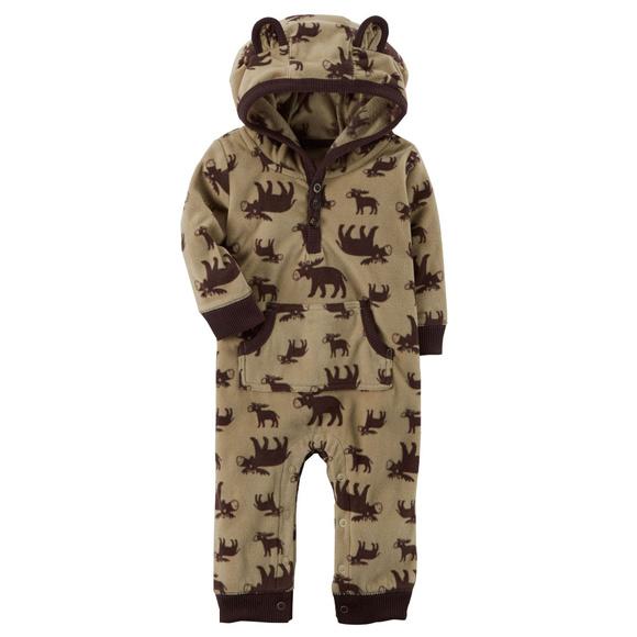 19975fef867 Carters Moose Fleece Jumpsuit Coveralls Baby Boy. NWT
